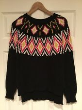 BCBG Max Azria Black Fair Isle Patterned Sweater, Size XS