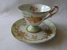 Vintage Lefton Hand Painted Lusterware Teacup & Saucer (#1424)