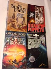 4 Sci Fi Lot ORSON SCOTT CARD SHADOW PUPPETS SHIPS OF EARTH ENDERS GAME WORTHING