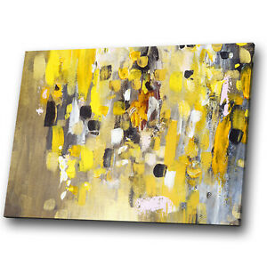 Yellow White Black Grey Abstract Canvas Wall Art Large Picture Prints