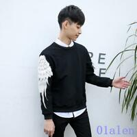Fashion Men Slim Fit Neck Wing Sleeve T-Shirt Korean Spring Pullover Tops Casual