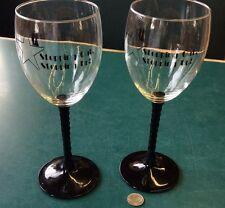 "2 Vintage 7-1/2"" Twisted Black Stem Wine Goblets Stepping Out Stepping Up!"