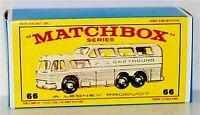 Matchbox Lesney No 66 GREYHOUND BUS Empty Repro E style Box