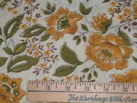 Vtg 50s Crewl Style Floral Gold Olive Green Quilt Sew Fabric 1Ydx36 OOP#ff237