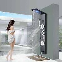 ELLO&ALLO Stainless Steel LED Shower Panel Rain&Waterfall Tower Massage System