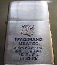 Zippo Lighter Advertising Wyssmann Meat Co. Kansas City Missouri Butcher Cow