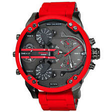 Diesel Mens Mr Daddy 2.0 Red Steel Bracelet Watch DZ7370
