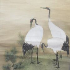 J147: Japanese hanging scroll of good composition of three cranes w/signed box