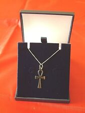 9CT  GOLD LADIES ANKH AND CURB CHAIN  FULLY HALLMARKED UK MADE