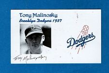 1937 TONY MALINOSKY-BROOKLYN DODGERS AUTOGRAPHED 3X5 CARD W/PHOTO-(d.2011)