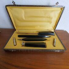 Art Deco Schreibset schwarz Bakelit Zelluloid Bleistift Brieföffner Petschaft