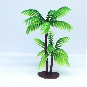 """Double Palm Tree Cake Topper Scenery (Set Of 3) 4-1/2"""" Cake Decoration"""