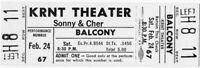 Sonny & Cher Original 1968 Tour Super Rare Unused Concert Ticket