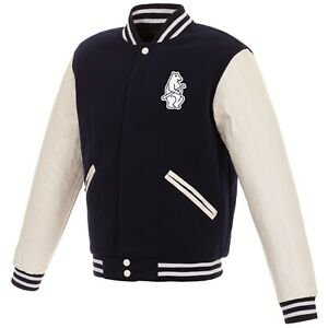 MLB Chicago Cubs Reversible Fleece Jacket PVC Sleeves Vintage Logos Navy White