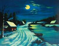 vintage art Snow Covered Moonlight Dark Winter Stream Houses
