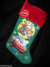 Disney Cars Green Plush Christmas Stocking~Mater~Lightning Mcqueen~Nwt