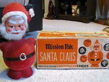 VTG Christmas Paper Mache BOBBLE HEAD SANTA CANDY CONTAINER ORIGINAL BOX