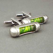 HIGH QUALITY MEN'S SPIRIT LEVEL NOVELTY WEDDING/DRESS CUFFLINKS - Fluoro Green