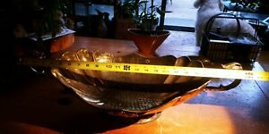 Huge Hammered Brass Centerpiece Fruit Bowl Scallopped Handled Oval 2ft long!