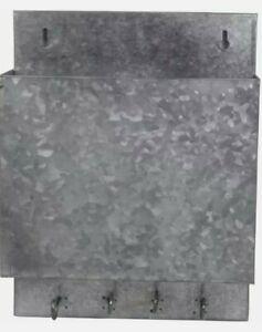 Wall Mounted Galvanized Letter Holder Rustic Mail Sorter Key Holder