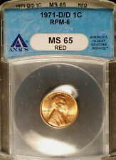 1971-D/D Lincoln Cent - CONECA RPM-006 #6   ANACS MS65 RED