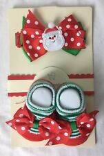 Santa Claus Infant Headband Hair Bow and Sock Booties Size 0-6M Baby Essentials