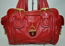Marc By Marc Jacobs Leather Lock Satchel Carryall Bag Red