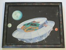 VINTAGE SPACE PAINTING US AF STARS PLANETS CRAFT MOON EARTH ALIEN SHIP MYSTERY