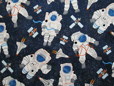 ASTRONAUTS SPACE SHIP STARS BLUE BLACKCOTTON FABRIC BTHY