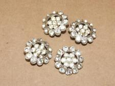 4 Vintage Silvertone & Foil Back Glass Rhinestone Floral Buttons Button Set 7/8""