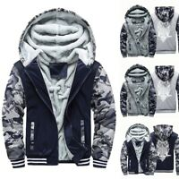 Mens Hoodie Warm Fleece Zipper 3D Print Jacket Sweatshirt Thick Coat Hoodie
