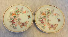 Set of 2 Avon Vtg Butterfly/Flower Mini Jewelry Plate/Saucer-22K Gold Trim 1979
