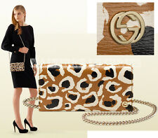 GUCCI BAG BETTY LEOPARD PRINT LEATHER CHAIN 354697 WALLET CLUTCH PURSE GG LOGO