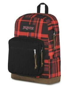 NWT Jansport Red & Black Buffalo Plaid Leather Bottom Backpack Laptop Book Bag