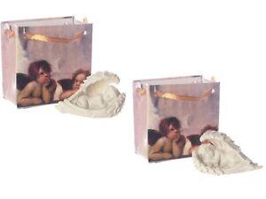 Cherub Resting in Angel Wings Figure in a Mini Gift Bag Home Decoration Present