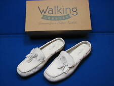 6 B Walking Cradles Rachel White Leather Ladies Womens Shoes Mules Flats Slipons