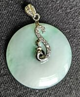 "Jadeite Open Circle .75"" Sterling Silver Pendant Flower Cubic Zirconia Burmese"