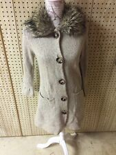Fever Sweater Earth Tones Cardigan Button Down Faux Fur Collar Size L