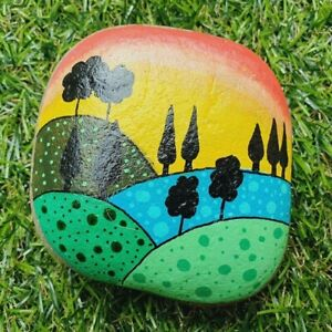 Hand Painted pebble stone art Hill side scene Colourful fields, sunset & trees