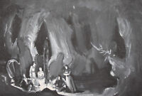 Vintage Theatre Scene Design Gouache Painting night landscape Signed