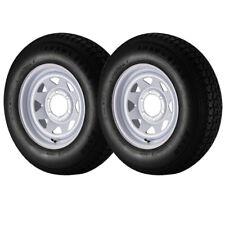 2 Pack ST225/75D15 Loadstar Trailer Tire LRD on 6 Bolt White Spoke Wheel