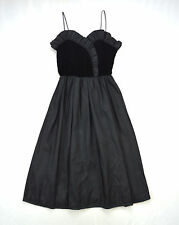 Vtg 50s Soft Black Velvet Sweetheart Ruffled Cocktail Long Party Dress Size S