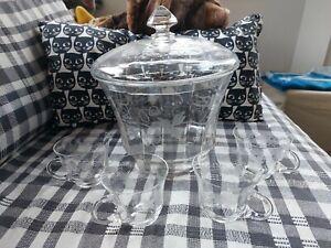 Bowle set kristall Mit 4 Gläser
