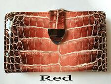 Porte-monnaie et portefeuilles rouge chéquier en cuir pour femme