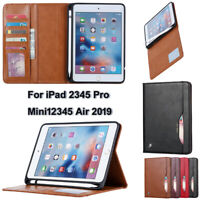 For iPad 2 3 4 5 6 Air 10.5 Pro 12.9 Mini 2019 Leather Wallet Stand Case Cover