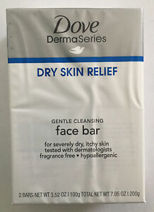 Dove DermaSeries Fragrance-Free Facial Cleansing Bar for Dry Skin 3.52, oz  2 ct