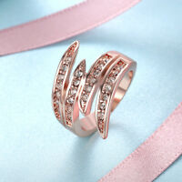 Swirl Cocktail Ring Made with Swarovski in 14K Rose Gold Plating Size 9