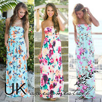 UK Womens Bandeau Holiday Long Dress Ladies Summer Floral Maxi Dress Size 6 - 14