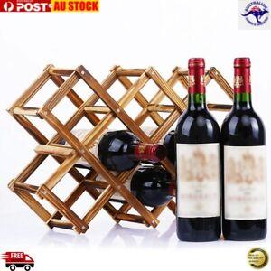 Wine Rack Wooden Bottle Storage Organizer Collapsible Cabinet Holder Kitchen Bar