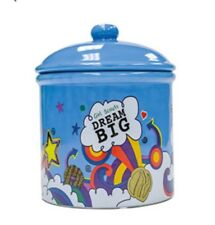 """Girl Scouts Cookie Jar Dream Big Ceramic Turquoise.stars Clouds Cookies 9"""" Tall"""